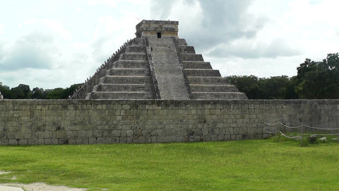 Chichen Itza Mexico Yucatan 12 Kukulcan Pyramid handheld Stock Video Footage