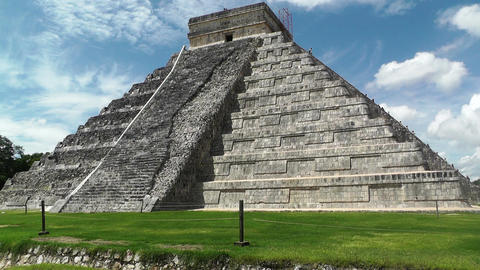 Chichen Itza Mexico Yucatan Kukulcan Pyramid 26 handheld Stock Video Footage