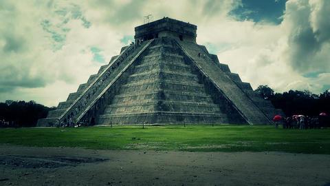 Chichen Itza Mexico Yucatan Kukulcan Pyramid 46 stylized Stock Video Footage
