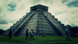 Chichen Itza Mexico Yucatan Kukulcan Pyramid 48 stylized Stock Video Footage