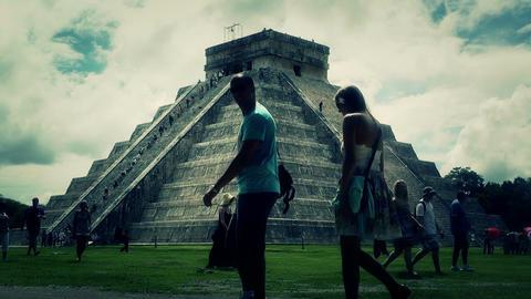 Chichen Itza Mexico Yucatan Kukulcan Pyramid 48 stylized Footage