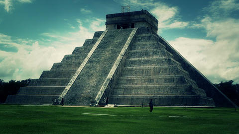 Chichen Itza Mexico Yucatan Kukulcan Pyramid 50 stylized Stock Video Footage