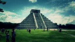 Chichen Itza Mexico Yucatan Kukulcan Pyramid handheld 52... Stock Video Footage