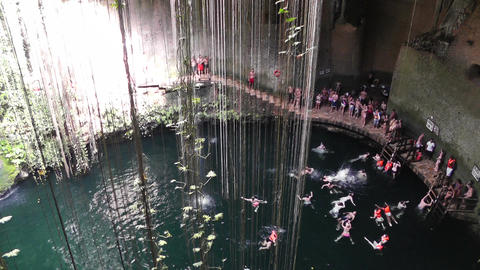 Dzonot Dzitnup Cenote in Mexico Yucatan 01 Stock Video Footage