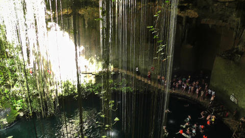Dzonot Dzitnup Cenote in Mexico Yucatan 03 Stock Video Footage