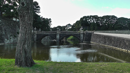 Tokyo Imperial Palace Japan Nijubashi Bridge Stock Video Footage