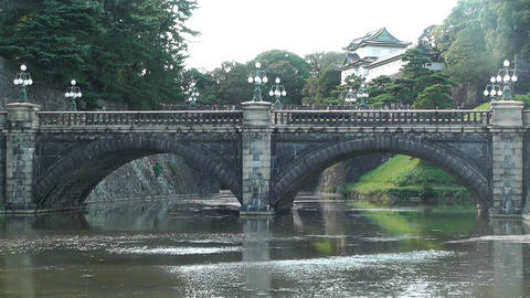 Tokyo Imperial Palace Japan Nijubashi Bridge 02 Stock Video Footage