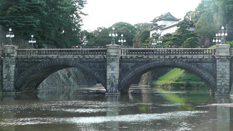 Tokyo Imperial Palace Japan Nijubashi Bridge 02 Stock Video Footage