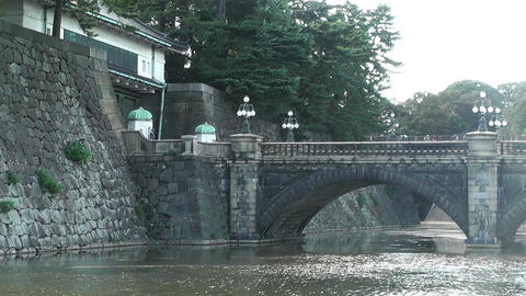 Tokyo Imperial Palace Japan Nijubashi Bridge 03 Stock Video Footage