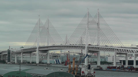 Yokohama Japan Metropolitan Expressway Bridge over the... Stock Video Footage