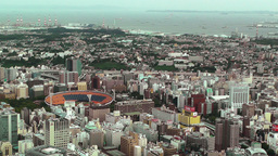 Yokohama Aerial Japan 17 baseball stadium Stock Video Footage