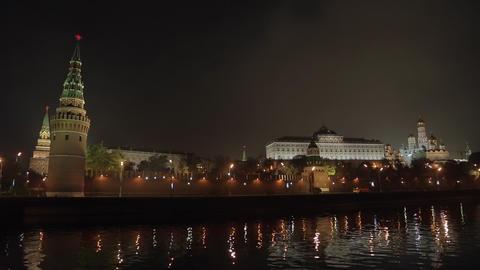 night Kremlin Embankment panorama Stock Video Footage