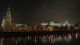 night Kremlin Embankment panorama Footage