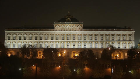 night Kremlin Embankment panorama Stock Video Footage
