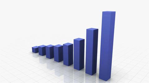 3D Growing Bar Graph Stock Video Footage