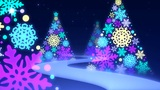 Way loop of the Christmas tree of the snowy crystal Animation