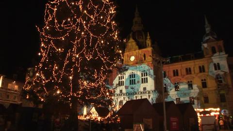Christmas lights in Graz, Austria Stock Video Footage