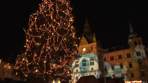 Christmas lights in Graz, Austria Stock Video Footage