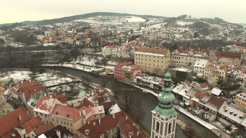 View from Cesky Krumlov Castle Stock Video Footage