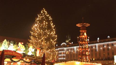 Christmas Pyramid and tree Stock Video Footage