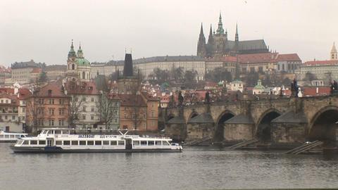 Prague Castle and Vltava River Stock Video Footage