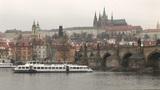 Prague Castle and Vltava River Footage