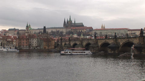 Prague Castle and Vltava River Stock Video Footage