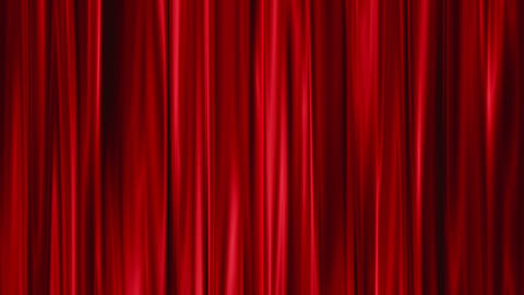 Red Curtains open, green background Stock Video Footage