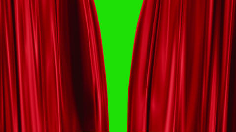 Red Curtains open, green background Animation
