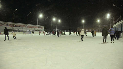 Skating rink with many people Footage