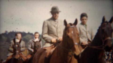 1944: Equestrian horse riding expo wealthy patrons show off Footage