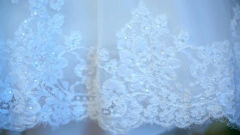 Applied embroidery on the dress of a bride 7 Footage