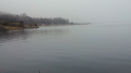 Thick Fog Above Lake In A Gloomy Day stock footage