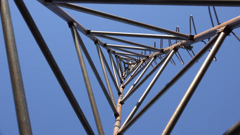 Zooming Of Steel Triangle Tower For Wind Turbine. Look From The Bottom. 4K Ultra stock footage