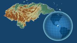 Honduras and Globe. Relief Animation