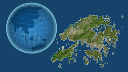Hong Kong and Globe. Satellite Animation