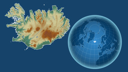 Iceland and Globe. Relief Animation