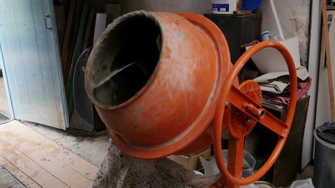 Concrete mixer mixes the solution Live Action