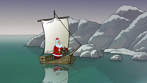Santa travels by his yacht Animación