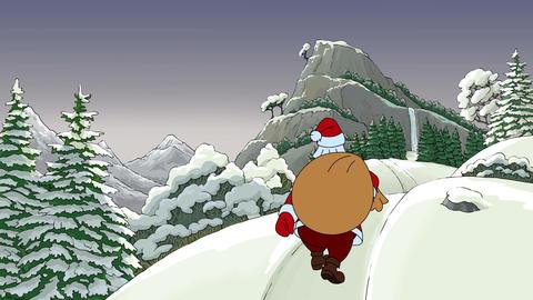 Santa goes to the mountain Animation