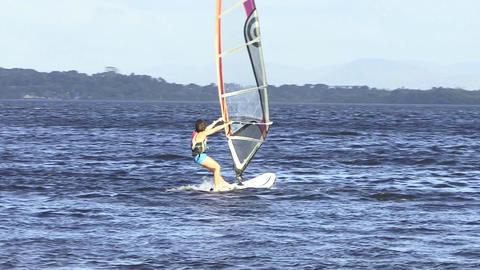 Woman Windsurfing Footage