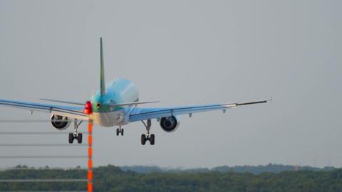 Airplane landing in Dusseldorf Footage