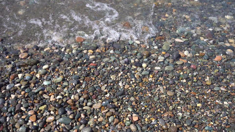Sea Pebbles and Ocean Waves on the Beach Footage