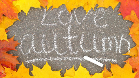 Love autumn inscription made by white chalk, colorful maple leaves lie around Footage