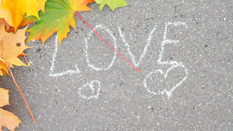 Wind blow out colourful maple leaves and reveal white text Love on asphalt GIF