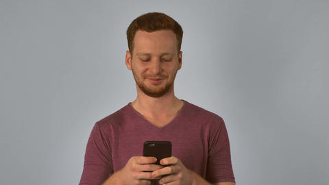 redhead male messaging cellular Footage