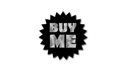 Text 'Buy me' on white background. Scribble effect Footage