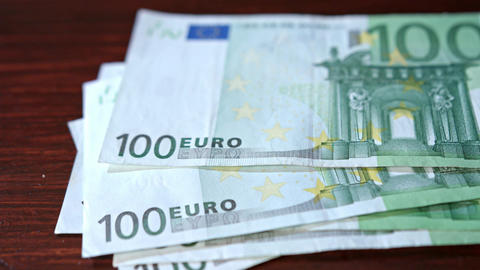 Pile of Hundred Euro Banknotes on a Table Footage