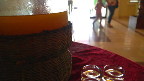 Tourists came to the hotel. Cold drink in a glass jar on the table Filmmaterial