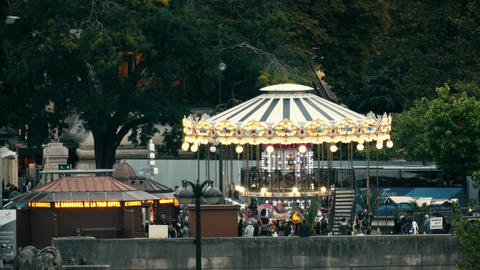 PARIS, FRANCE - OCTOBER 8, 2017. Carousel near the Eiffel tower Footage